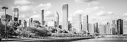 Panoramic Chicago skyline black and white photo with Lake Michigan shoreline at Monroe Harbor and Grant Park in downtown Chicago. Panorama ratio is 1:3. Image Copyright © Paul Velgos All Rights Reserved.