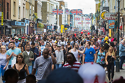 London, August 29th 2016. Thousands wander down Portobello Road during day two of Europe's biggest street party, the Notting Hill Carnival.