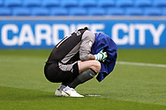 Sheffield Wednesday goalkeeper Keiren Westwood covers his face with his towel. EFL Skybet championship match, Cardiff city v Sheffield Wednesday at the Cardiff City Stadium in Cardiff, South Wales on Saturday 16th September 2017.<br /> pic by Andrew Orchard, Andrew Orchard sports photography.