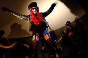 Drag performers on stage at the Loco Klub, in the catacombs underneath Temple Meads station in Bristol, UK.