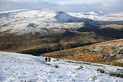 © Licensed to London News Pictures. 04/12/2020. <br /> A winter landscape on Penyfan, in the Brecon Beacons, the highest point in southern Wales and England, which has seen it's first snowfall of the year. Photo credit: Robert Melen/LNP