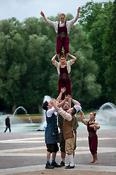 © Licensed to London News Pictures. 22/06/2021. LONDON, UK. Members of Lost in Translation, one of the UK's leading contemporary circus companies, perform at a preview in Battersea Park, ahead of their 10th anniversary tour which kicks off at Wandsworth Arts Fringe on 25 June 2021.  Photo credit: Stephen Chung/LNP