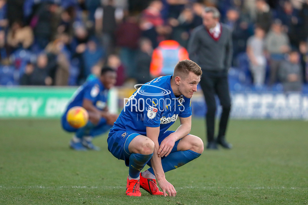 AFC Wimbledon striker Joe Pigott (39) after the final whistle during the EFL Sky Bet League 1 match between AFC Wimbledon and Charlton Athletic at the Cherry Red Records Stadium, Kingston, England on 23 February 2019.