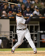 CHICAGO - APRIL 26:  Miguel Cabrera #24 of the Detroit Tigers hits a home run against the Chicago White Sox on April 26, 2019 at Guaranteed Rate Field in Chicago, Illinois.  (Photo by Ron Vesely)  Subject:   Miguel Cabrera