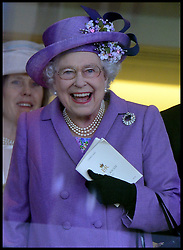 HM The Queen celebrates winning the Gold Cup in the Royal Box with her horse Estimate at Royal Ascot 2013 Ascot, United Kingdom,<br /> Thursday, 20th June 2013<br /> Picture by Andrew Parsons / i-Images
