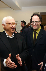Left to right, artist ELLSWORYH KELLY and art dealer MATTHEW MARKS at an exhibition of leading artist Ellsworth Kelly at the Serpentine Gallery, Kensington Gardens, London followed by a dinner at the Riverside Cafe, London on 17th March 2006.<br /><br />NON EXCLUSIVE - WORLD RIGHTS