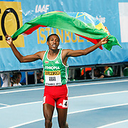 Ethiopia's Mohammed Amin celebrates after winning the gold medal in the men's 800m at the during the IAAF World Indoor Championships at the Atakoy Athletics Arena, Istanbul, Turkey. Photo by TURKPIX