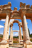 """Picture of the double Tetrapylon Gate, Aphrodisias, Turkey. A tetrapylon (Greek: Τετράπυλον, """"four gates"""") is an ancient type of Roman monument of cubic shape, with a gate on each of the four sides: generally it was built on a crossroads. stock photos & photo art prints. 9"""