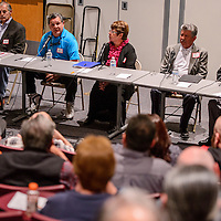 021615       Cable Hoover<br /> <br /> District 4 city councilor candidates introduce themselves to the audience during a forum at UNM-Gallup Monday.