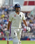 Wicket - Alastair Cook of England who has announced he is retiring from international cricket at the end of the series during the 3rd day of the 4th SpecSavers International Test Match 2018 match between England and India at the Ageas Bowl, Southampton, United Kingdom on 1 September 2018.