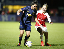 February 7, 2019 - London, England, United Kingdom - Jess Sigsworth of Manchester United Women  holds of Katie McCabe of Arsenal.during FA Continental Tyres Cup Semi-Final match between Arsenal and Manchester United Women FC at Boredom Wood on 7 February 2019 in Borehamwood, England, UK. (Credit Image: © Action Foto Sport/NurPhoto via ZUMA Press)