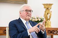 02 FEB 2021, BERLIN/GERMANY:<br /> Frank-Walter Steinmeier, Bundespraesident, waehrend einem Interview, Robert-Blum-Saal, Schloss Bellevue<br /> IMAGE: 20210202-01-006<br /> KEYWORDS: BUndespräsident