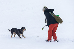 A woman plays with her dog in the snow at Kenwood House as people and their pets enjoy the three inches of snow on Hampstead Heath in North London. Hampstead, London, February 01 2019.