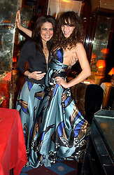 Left to right, DANIELLA HELAYEL and CHARLOTTE DELLAL at a private dinner and presentation of Issa's Autumn-Winter 2005-2006 collection held at Annabel's, 44 Berkeley Square, London on 15th March 2005.<br />