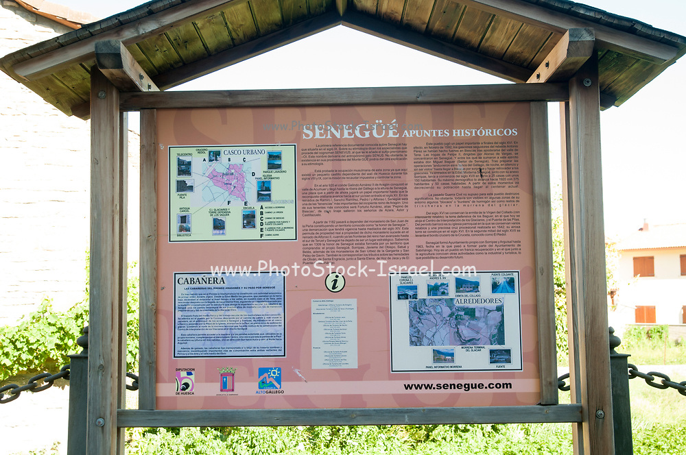 tourist information sign, Senegüé (Senegue), Huesca, Spain