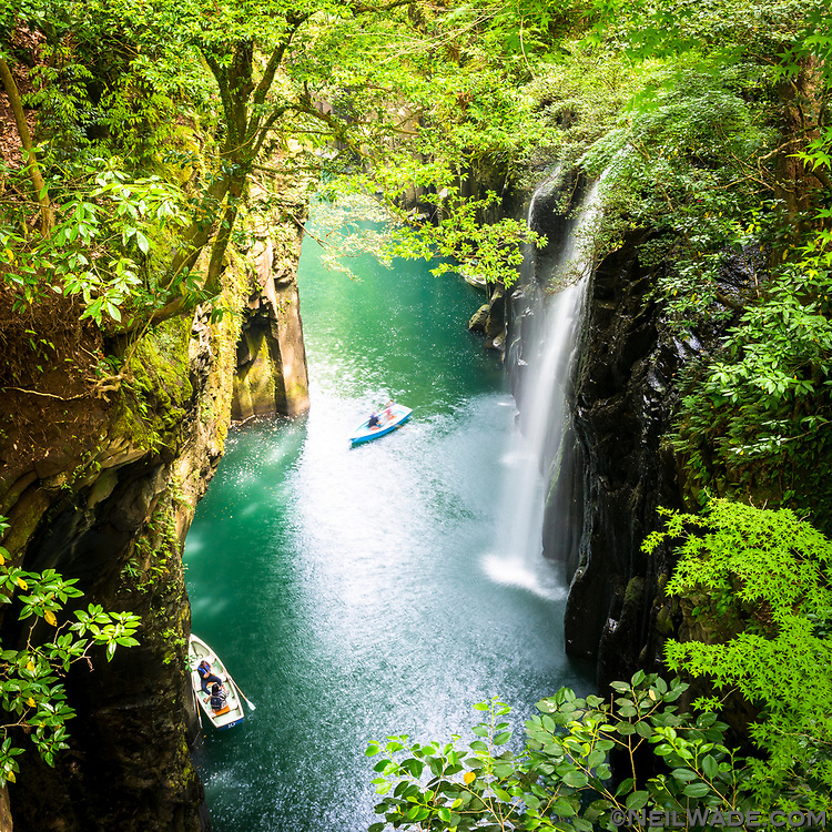 The Takachiho Gorge and Manai waterfall is a must-see in Kyushu, Japan.