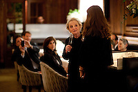 """Former US Secretary of State, Madeline Albright at a dinner reception at the Plaza Hotel's Oak Room after an opening reception of her exhibit and book release, """"Read MY Pins: StoriesFrom A Diplomat's Jewel Box"""", at the Museum of Art and Design Columbus Circle in New York. (Photo by Robert Caplin)"""