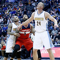 08 March 2017: Washington Wizards forward Markieff Morris (5) vies for the rebound with Denver Nuggets guard Jameer Nelson (1) and Denver Nuggets center Mason Plumlee (24) during the Washington Wizards 123-113 victory over the Denver Nuggets, at the Pepsi Center, Denver, Colorado, USA.
