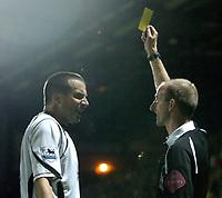 Photo: Richard Lane.<br />Watford v Fulham. The Barclays Premiership. 02/10/2006. <br />Referee, Mike Riley books Fulham's Ian Pearce.