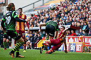 Bradford City defender Anthony McMahon (29) challenges for the ball during the EFL Sky Bet League 1 match between Bradford City and Doncaster Rovers at the Northern Commercials Stadium, Bradford, England on 30 September 2017. Photo by Simon Davies.