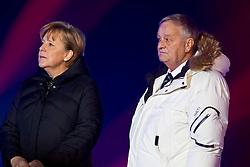 07-02-2011 SKIEN: FIS ALPINE WORLD CHAMPIONSSHIP: GARMISCH PARTENKIRCHEN<br /> Chancellor Angela Merkel and Gian Franco Kasper, FIS President during official Official opening ceremony Fis Alpine Ski World Championships<br /> **NETHERLANDS ONLY**<br /> ©2011-WWW.FOTOHOOGENDOORN.NL/NPH- J. Groder