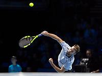 Tennis - 2017 Nitto ATP Finals at The O2 - Day Seven<br /> <br /> Semi Finals: Grigor Dimitrov (Bulgaria) Vs Jack Sock (United States)<br /> <br /> Jack Sock (United States) serving at the O2 Arena <br /> <br /> COLORSPORT/DANIEL BEARHAM