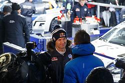 16.01.2014, Servicepark, Gap, FRA, FIA, WRC, Rallye Monte Carlo, 1.Tag, im Bild OGIER Sebastien ( VOLKSWAGEN MOTORSPORT (DEU) / VOLKSWAGEN POLO R ) schaut etwas enttaeuscht bei den Interviews, Emotionen // during day one of FIA Rallye Monte Carlo held near Monte Carlo, France on 2014/01/16. EXPA Pictures © 2014, PhotoCredit: EXPA/ Eibner-Pressefoto/ Neis<br /> <br /> *****ATTENTION - OUT of GER*****