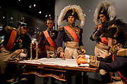 Waxwork models of Napoleons generals incl Marechal Soult, centre, re-enact the night before the Battle of Waterloo forming an exhibit inside the Memorial 1815 exhibition at the battlefield, on 25th March 2017, at Waterloo, Belgium. Inaugurated on the battles bicentenary, visitors experience the history of Napoleonic Europe and the armies of both the French and allied armies on that day. The Battle of Waterloo was fought 18 June 1815. A French army under Napoleon Bonaparte was defeated by two of the armies of the Seventh Coalition: an Anglo-led Allied army under the command of the Duke of Wellington, and a Prussian army under the command of Gebhard Leberecht von Blücher, resulting in 41,000 casualties.
