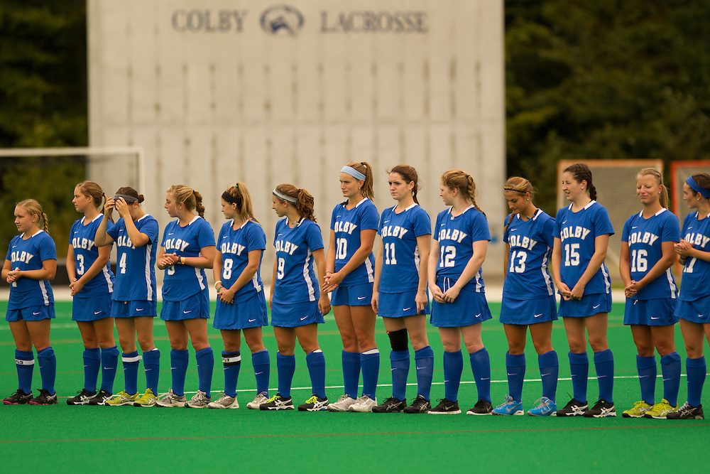 Colby College field hockey team before a NCAA Division III field hockey game on September 13, 2014 in Waterville, ME. (Dustin Satloff/Colby College Athletics)
