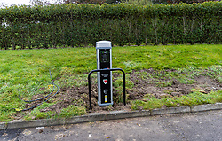 CARDIFF, WALES - Monday, October 5, 2020: Wales' An electric car charging station insalled in the car park of the Football Association of Wales with EV Open Charge. (Pic by David Rawcliffe/Propaganda)