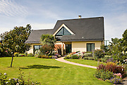 Typical French modern bungalow house at Ernee in Normandy, France