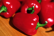 Close up selective focus photograph of red Paprika peppers