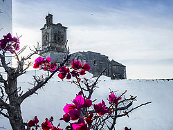 Church of Arcos de la frontera with flowers blooming in foreground, Andalucia, Spain, Europe