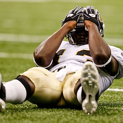 August 21, 2010; New Orleans, LA, USA; New Orleans Saints wide receiver Rod Harper (13) reacts after being stopped short of the goal during the second half of a 38-20 win by the New Orleans Saints over the Houston Texans during a preseason game at the Louisiana Superdome. Mandatory Credit: Derick E. Hingle