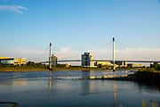 Bob Kerrey Pedestrian Bridge and Riverfront Place on a beautiful morning. Taken from Tom Hanafan River's Edge Park, Council Bluffs, Iowa, USA.