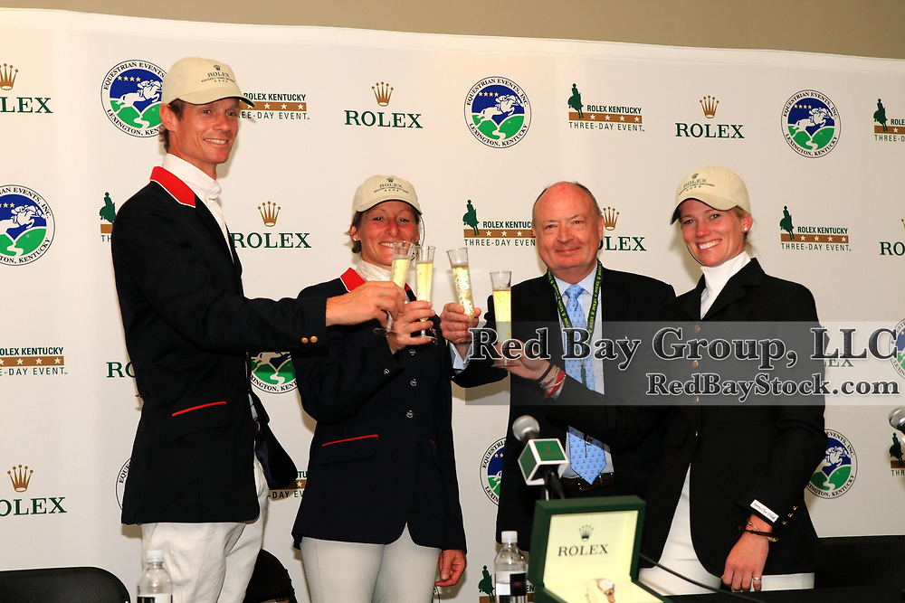 Rolex Watch USA President and CEO, Stewart Wicht with William Fox-Pitt, Mary King and Sinead Halpin at the 2011 Rolex Kentucky Three-Day Event in Lexington, KY.