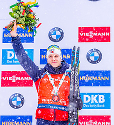19.01.2020, Chiemgau Arena, Ruhpolding, GER, IBU Weltcup Biathlon, Verfolgung, Herren, Siegerehrung, im Bild Vetle Sjaastad Christiansen (NOR) // Vetle Sjaastad Christiansen of Norway during the winner ceremony for the men's persecution competition of BMW IBU Biathlon World Cup at the Chiemgau Arena in Ruhpolding, Germany on 2020/01/19. EXPA Pictures © 2020, PhotoCredit: EXPA/ Stefan Adelsberger