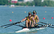 St Catherines, CANADA,  Women's Pair  Double Sculls AUS W2X. Marina HATZAKIS  and Bronwyn ROYE, competing,  1999 World Rowing Championships - Martindale Pond, Ontario. 08.1999..[Mandatory Credit; Peter Spurrier/Intersport-images]  .. 1999 FISA. World Rowing Championships, St Catherines, CANADA
