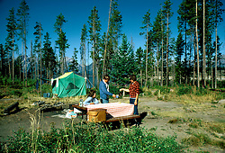WY: Grand Teton National Park, Wyoming; campers, camping, Signal Mountain      .Photo Copyright: Lee Foster, lee@fostertravel.com, www.fostertravel.com, (510) 549-2202.Image: wygran215