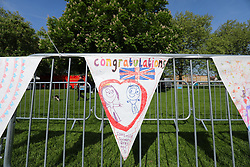 © Licensed to London News Pictures. 18/05/2018. London, UK. Bunting made by school children lines the Long Walk in Windsor ahead of the Royal Wedding. Prince Harry and Meghan Markle are to be married in Windsor tomorrow, Saturday 19 May 2018. Photo credit: Rob Pinney/LNP