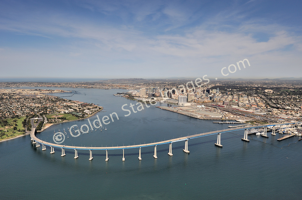 The view of the Coronado Bridge looking to the north with  downtown San Diego on the right and Coronado on the left.