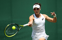 LONDON, July 3, 2018  Samantha Stosur of Australia hits a return during the women's singles first round match against Peng Shuai of China at the Championship Wimbledon 2018 in London, Britain, on July 3, 2018. Samantha Stosur won 2-0. (Credit Image: © Tang Shi/Xinhua via ZUMA Wire)