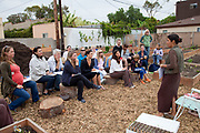 Norma Bonilla leads a workshop at the Venice Community Garden on Saturday August 28, 2010 . The Venice Garden broke ground in April, 2010. Soil tests revealed high levels of arsenic and lead because of previous uses which included a railroad line going through the lot. Steps were taken which included adding protective layers and adding new soil. Planting began in August and the first harvest was in October, 2010. Venice, California, USA