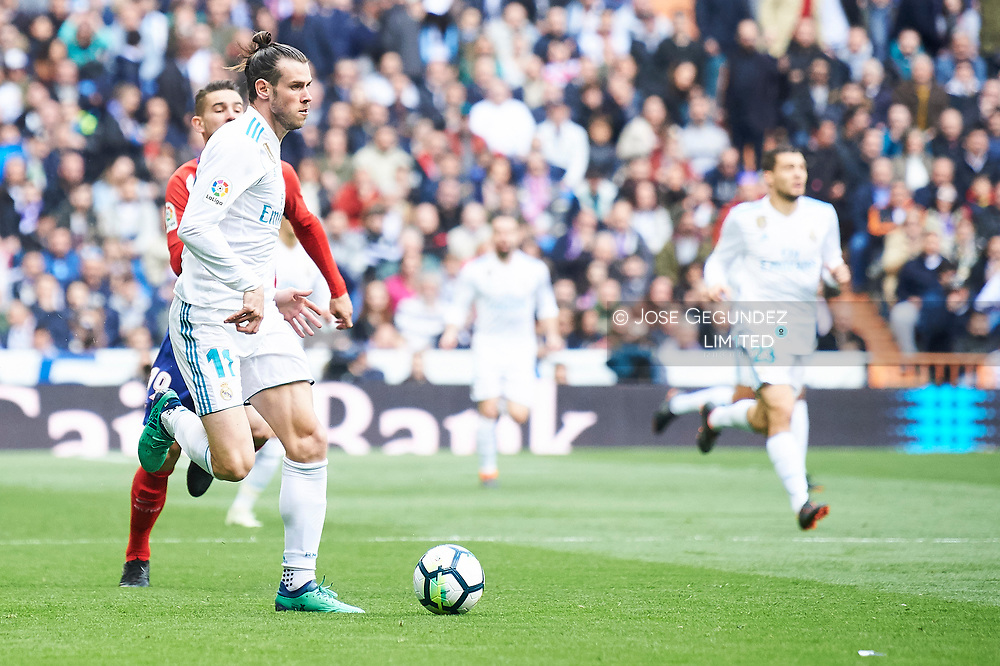 Gareth Bale (midfielder; Real Madrid) in action during La Liga match between Real Madrid and Atletico de Madrid at Santiago Bernabeu on April 8, 2018 in Madrid, Spain