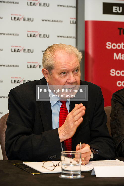 Pictured: Jim Sillars<br /> Former UK trade minister Nigel Griffiths and former SNP deputy leader Jim Sillars were joined by Gary Parker, SNP activist and Tom Burns, ASLEF member as they spoke on the EU's negotiations with the United States for the Transatlantic Trade and Investment Partnership and the effect it could have on Scottish public services<br /> <br /> Ger Harley   EEm 30 May  2016