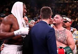 Anthony Joshua (left) congratulates Andy Ruiz Jr (right) after the WBA, IBF, WBO and IBO Heavyweight World Championship match at Madison Square Garden, New York.