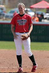 19 April 2014:  Taylor Baxter during an NCAA women's softball game between the Evansville Purple Aces and the Illinois State Redbirds on Marian Kneer Field in Normal IL