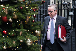 © Licensed to London News Pictures. 19/12/2017. London, UK. Secretary of State for Environment, Food and Rural Affairs Michael Gove leaves 10 Downing Street after the weekly Cabinet meeting. Photo credit: Rob Pinney/LNP