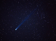 Night view of Comet Hyakutake in starry sky above the Sierra Foothills in March of 1996, Sequoia National Park, California.