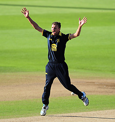 Oliver Hannon-Dalby of Warwickshire appeals for the wicket of Max Waller.  - Mandatory by-line: Alex Davidson/JMP - 29/08/2016 - CRICKET - Edgbaston - Birmingham, United Kingdom - Warwickshire v Somerset - Royal London One Day Cup semi final